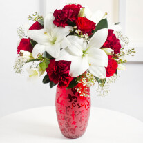 Romantic Bouquet in Red and White Colours